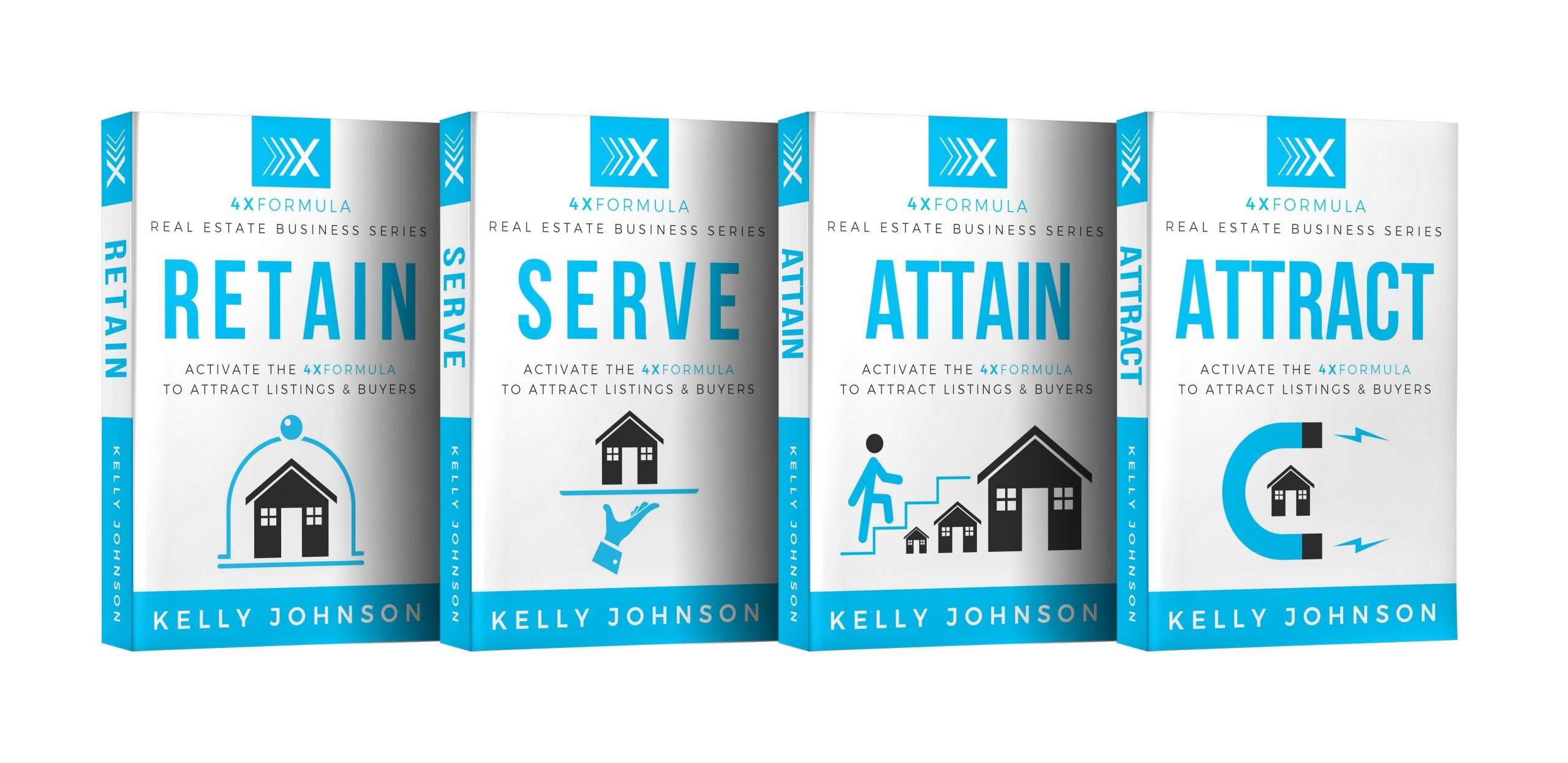 4 books written by Kelly Johnson about helping you retain, serve, attain & attract new clients - 4x Formula